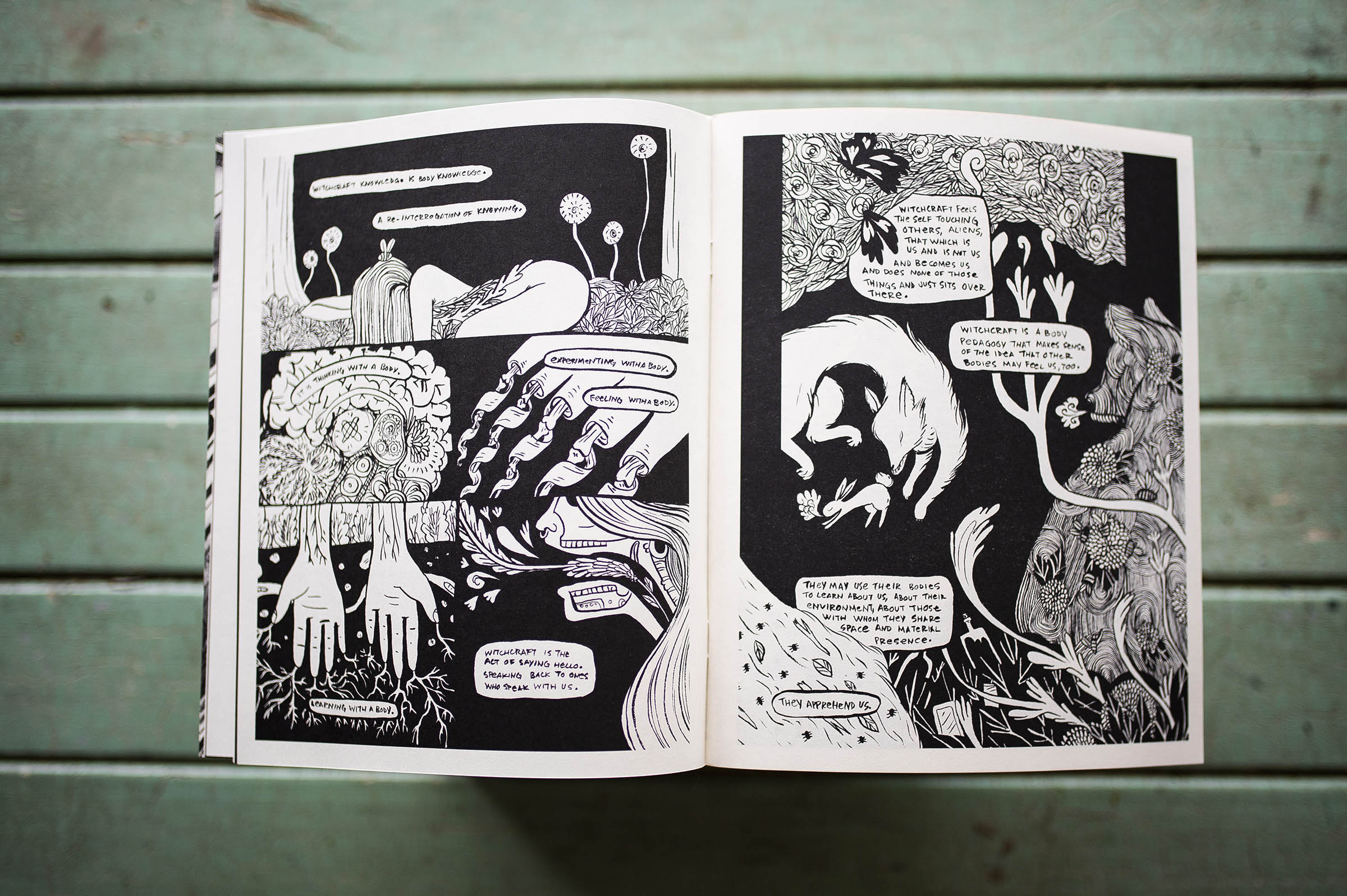 Against a background of distressed blue wooden slats, the graphic novel Witchbody lies open. The black and white pages show a profusion of flowers, roots, leaves, animals, and human bodies, flowing into each other.