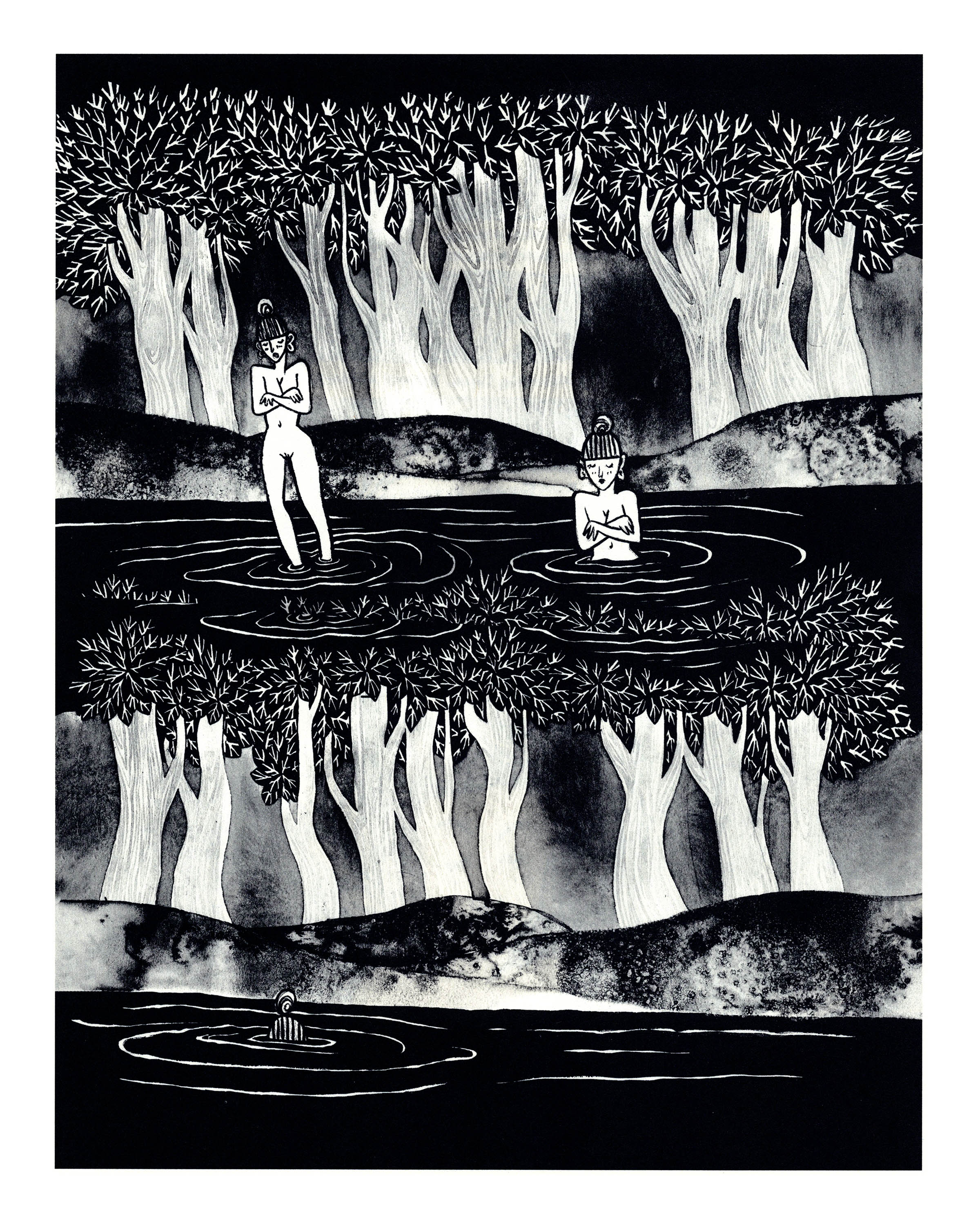 A black and white illustration of two tree-lined bodies of water, one atop the other. In the top one, two naked women, their hair up, stand in the water, arms crossed over their chests. The ripples they make become the leaves of the lower trees. In the lower lake, the shape that breaks the surface is a spiral on top of a striped mound.