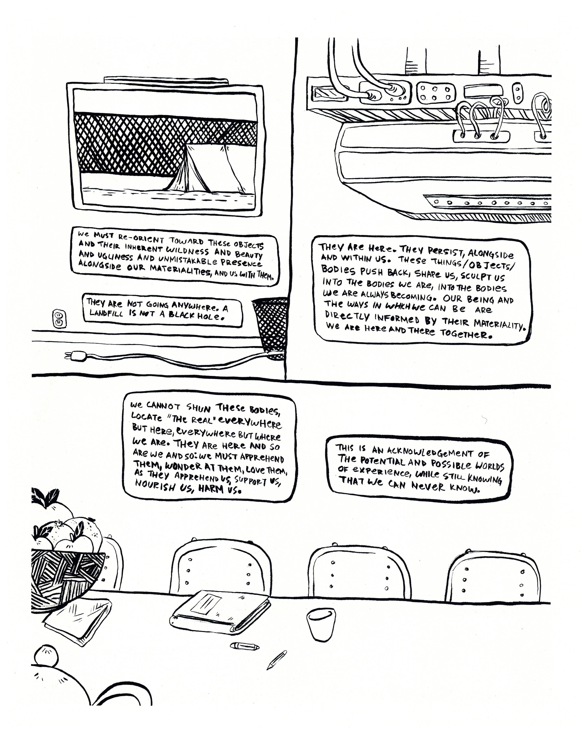 A page from Witchbody. Three panels depict everyday objects: an unplugged cord, an empty wastebasket, a tent seen through a window, a piece of electronic equipment, a long table with a bowl of fruit, a teapot, and a notebook on top.